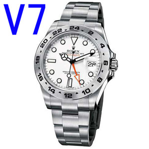 最新N厂探险家V7版,乱真!一比一 劳力士 探险家型2系列216570-77210白色表盘,1比1原装3187机心,劳力士潜水机械表,男士表。